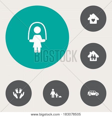 Set Of 6 Family Icons Set.Collection Of Look After, Automobile, House And Other Elements.
