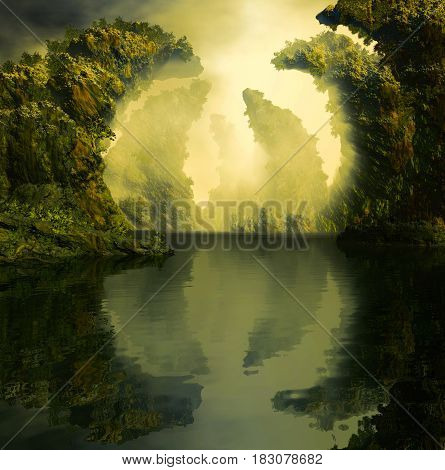 3D Illustration of landscape where one observes rocky formations with vegetation on calm waters in a cloudy atmosphere