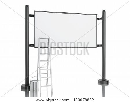 3D Blank Street Advertising Billboard With Stairs And Paint Bucket