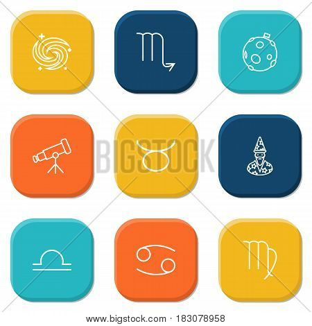 Set Of 9 Horoscope Outline Icons Set.Collection Of Moon, Astrologer, Cancer And Other Elements.