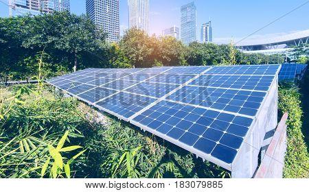 Solar Panels In modern city