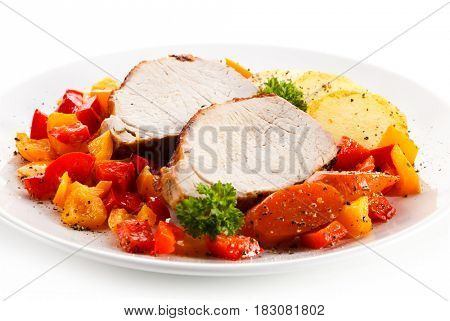 Roast chicken fillet with potatoes