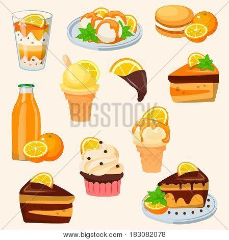 Very high quality original trendy vector set with orange sweets, cake, cupcake, macaroons, icecream, juicec,