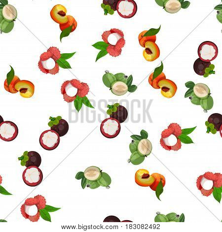 Very high quality original trendy vector seamless pattern with lychee, mangosteen, feijoa, peach, exotic tropical fruit