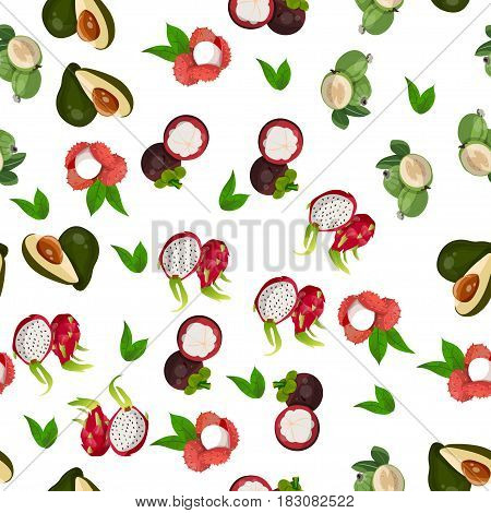 Very high quality original trendy vector seamless pattern with pitaya, avocado, mangosteen, lychee, dragon fruit, exotic tropical fruit