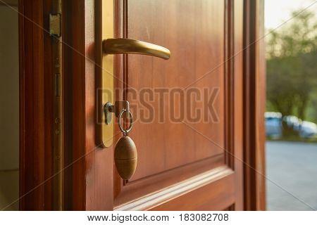 Front door open, sunny weather outside