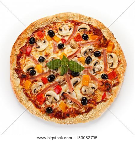 Pizza with mushrooms and olives