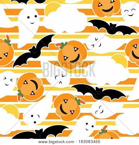 Seamless pattern of Cute pumpkin, bat and ghost vector cartoon on striped background, Halloween wallpaper, scrap paper, and postcard, T-shirt design for kids
