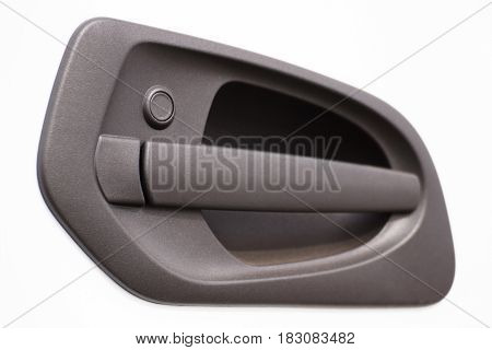 Door Handle Of White Car Or Truck, Detail Of Vehicle