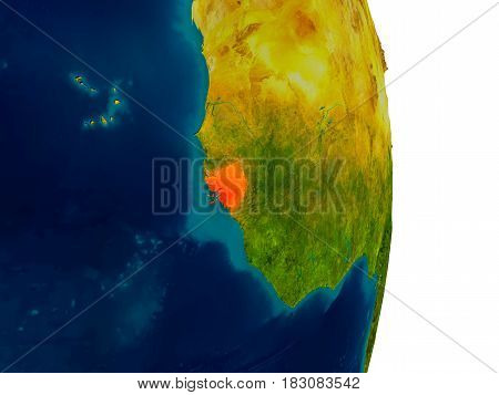 Guinea-bissau On Model Of Planet Earth