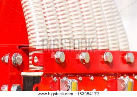 Plastic Corrugated Pipes In Agricultural Machine, Technology Concept