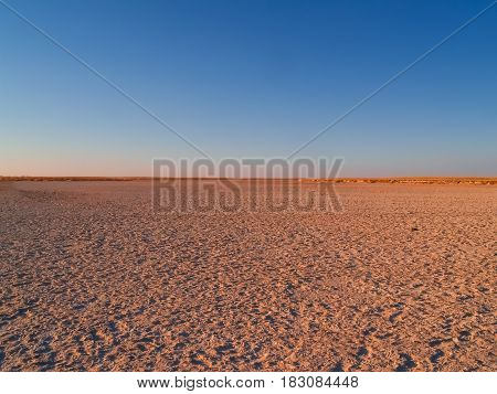 Makgadikgadi Pans National Park scenic large flat area of salt pan desert of Botswana