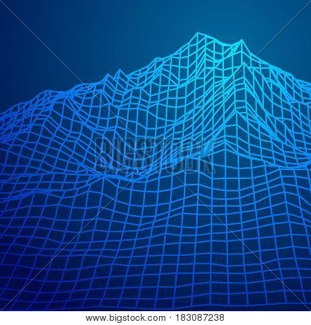 Abstract wireframe landscape digital background. Cyberspace grid. Technology vector illustration.