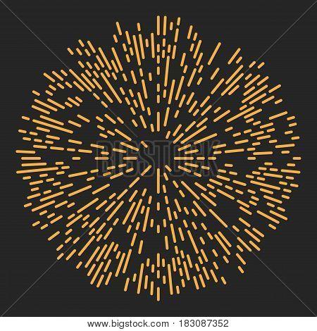 Starburst or Sunburst Abstract Design Element. Vector illustration on black.