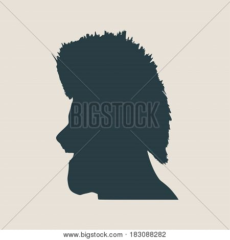 Man avatar profile view. Isolated male face silhouette or icon . Vector illustration. Wide open mouth. Mohawk hairstyle