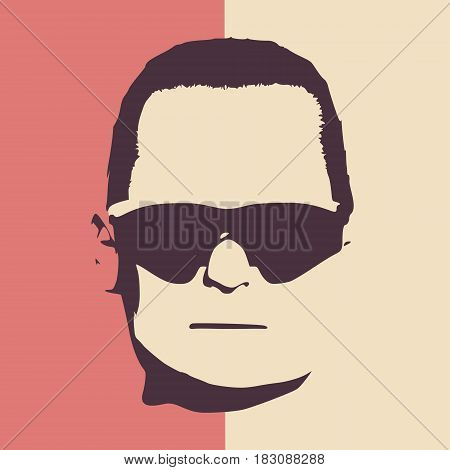 Man avatar front view. Isolated male face silhouette or icon. Vector illustration. Portrait with sunglasses