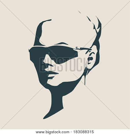 Portrait of beautiful woman in black sunglasses. Bun hairstyle. Vector version. Half turn view