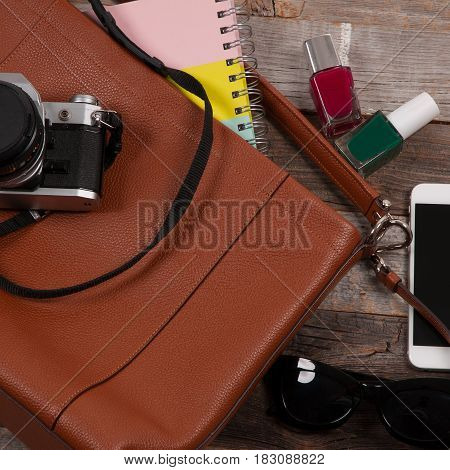 Clothing For Woman And Travel Accessories: Bag, Sunglasses And Camera