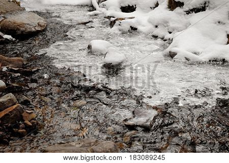 Pure mountain stream on winter day