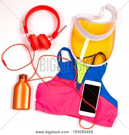 Gym Outfit - Workout Clothing, Sports Bra, Headphones And Smartphone. Female Summer Swimsuit Accesso