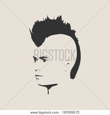 Man avatar half turn view. Isolated male face silhouette or icon. Vector illustration. Mohawk hairstyle