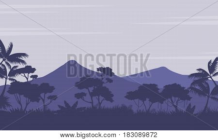 Silhouette of forest with mountain scenery vector art
