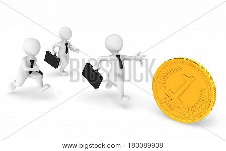 3d business people runs pursuing a gold coin