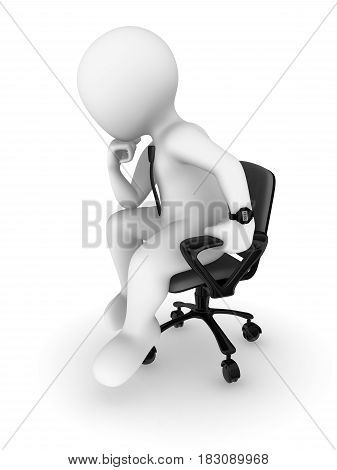 3d businessman sitting on a chair and thinking. 3d illustration.