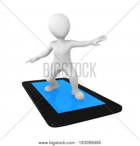 3d man with tablet pc isolated on white background. Web surfing. 3d illustration.