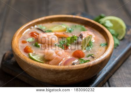 Tom yam kong or Tom yum, Tom yam is a spicy clear soup typical in Thailand and No.1 Thai Dish Cuisine.