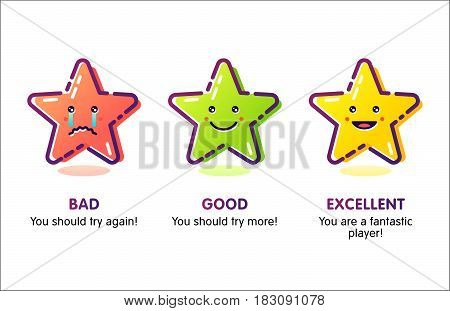 The set of star ratings with different colors for game achievements: bad good excellent. Outline flat design. Good for game design.