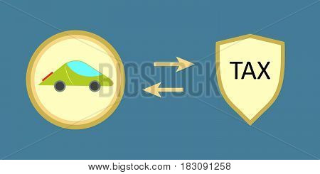 Vector illustration about car taxation with shield shape
