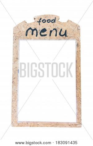 Isolated In White, Wood Food Menu Board For Restaurant