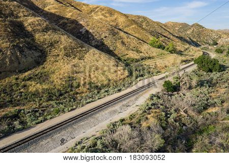 Railroad Tracks In Foothills