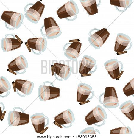 Very high quality original trendy vector seamless pattern with cinnamon hot chocolate cup