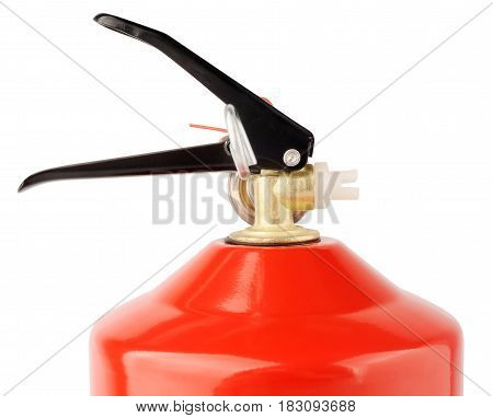 Upper part of red fire extinguisher isolated on the white background