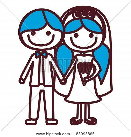hand drawing silhouette caricature groom with formal suit and bride with blue pigtails hairstyle vector illustration