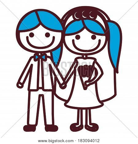 hand drawing silhouette caricature groom with formal suit and bride with blue pigtails vector illustration