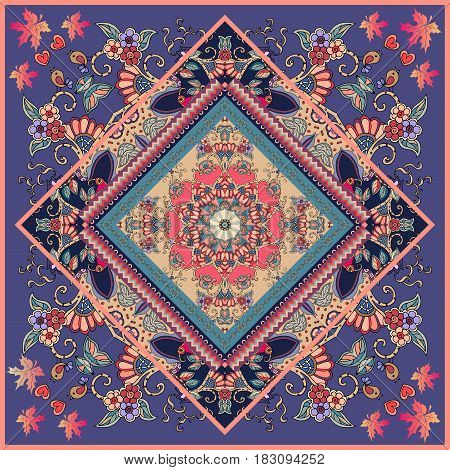 Unique square carpet or ethnic shawl with flower mandala on decorative ornament. Birds and maple leaves. Beautiful vector illustration. Packaging design. Russian, spanish, indian motives.