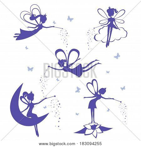 Cartoon fairy silhouette vector set. Set of Blue Silhouette  stencil Fairys isolated on white background. Vector illustration.