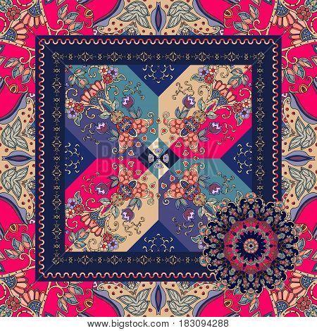 Unique bandana print with stylized crystal and flower mandala. Bright vector illustration. Festive pattern.