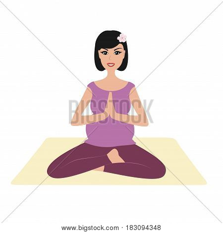 Beautiful pregnant woman practicing yoga, pregnant girl namaste pose vector illustration