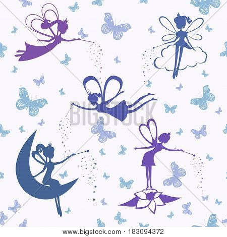 Background with fairy. Silhouette Fairy seamless pattern. Vector illustration.
