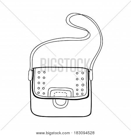 Bag. Fashion accessory. Black and white illustration for coloring.