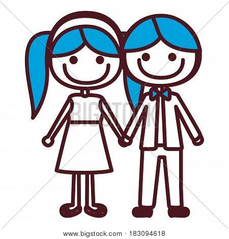 hand drawing silhouette caricature boy blue hair and girl pigtails hairstyle with taken hands vector illustration