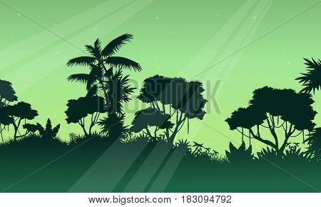 Silhouette of jungle on green background scenery vector art