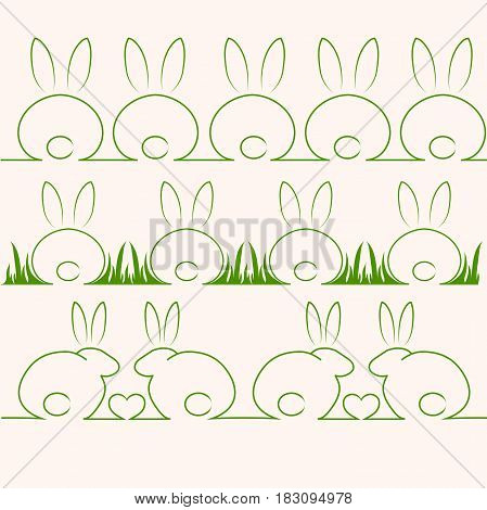 Very high quality original trendy vector set with cute rabbits or bunny