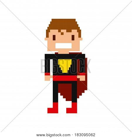 hero video game pixelated character vector illustration design