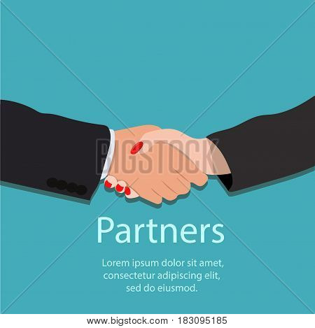 Very high quality original trendy vector illustration of realistic handshake, partnership or teamwork concept