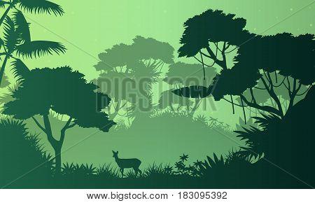 Beauty landscape jungle with deer silhouette vector art